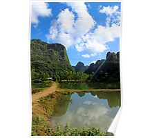 Reflections of Green and Blue - Thakhek, Laos. Poster