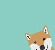 Shiba Inu Peek - cute shiba doge peeking funny dog art print mint turquoise customizable dog gift by PetFriendly