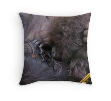 Mother and Baby Mountain Gorilla - Kuryama Family Throw Pillow