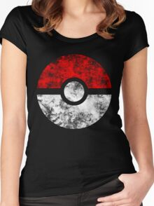 Distressed Pokeball Women's Fitted Scoop T-Shirt