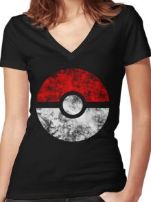 Distressed Pokeball Women's Fitted V-Neck T-Shirt