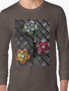 Wall Flowers on Gray Brick Long Sleeve T-Shirt