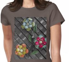 Wall Flowers on Gray Brick Womens Fitted T-Shirt