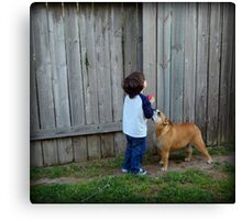 Little boy and his dog... Canvas Print