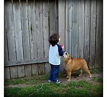 Little boy and his dog... Photographic Print