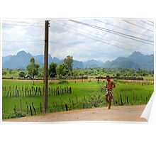 Walking along the Road - Thakhek, Laos. Poster