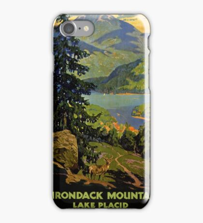 Adirondack Mountains Lake Placid Vintage Poster Restored iPhone Case/Skin