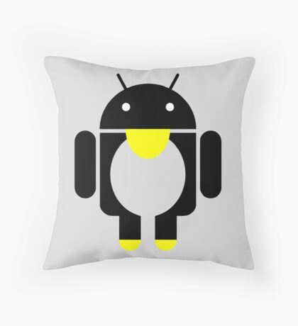 linux Tux penguin android  Throw Pillow