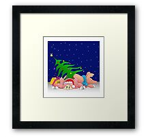 Pigs with tree waiting for Christmas for throw pillows Framed Print