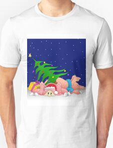 Pigs with tree waiting for Christmas for throw pillows Unisex T-Shirt