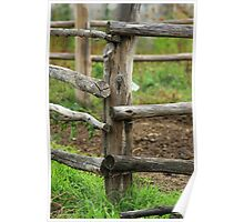 Wooden Fence on a Farm Poster