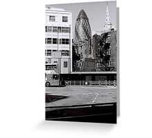 Swiss Re Behind the Bus Depot, London Greeting Card