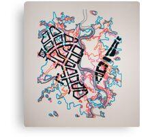 Layered Maps Screenprint Canvas Print
