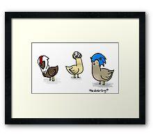 Birds in game hats Framed Print