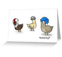 Birds in game hats Greeting Card