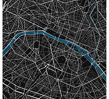 Paris city map black colour by mmapprints