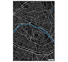 Paris city map black colour Photographic Print