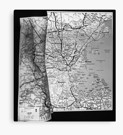 Body Maps - Boston Coast - Torso, Leg, Arm Canvas Print