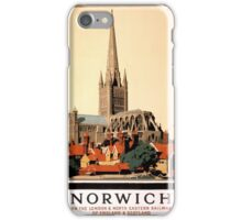 Norwich Vintage Travel Poster Restored iPhone Case/Skin