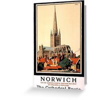 Norwich Vintage Travel Poster Restored Greeting Card