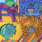 'Cracked Cats' At Home by Lisa Frances Judd ~ QuirkyHappyArt