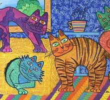 'Cracked Cats' At Home by Lisafrancesjudd