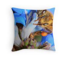 Blue Bumble Bee Throw Pillow