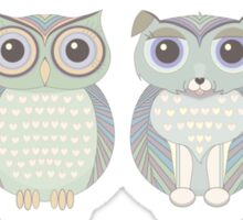Double Dogs and Owls Blue Sticker