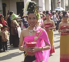 Young Lady in Floral Festival Parade, Chiang Mai. by Mywildscapepics