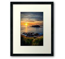 Godrevy Lighthouse at Sunset Framed Print
