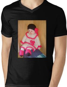 Doll with pink socks Mens V-Neck T-Shirt