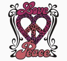 Love Peace Heart One Piece - Short Sleeve