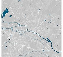 Berlin city map grey colour by mmapprints