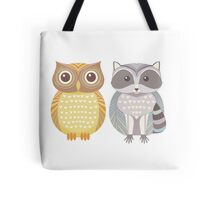 Owl & Raccoon Tote Bag