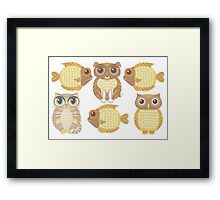 3 Fish, Dog, Cat & Owl Framed Print
