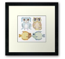 Lanky Dog, Big-Eyed Cat & 2 Fish Framed Print
