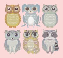 Owls, Dogs, Cat, Raccoon Kids Clothes