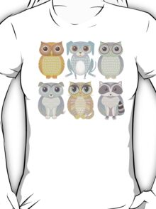 Owls, Dogs, Cat, Raccoon T-Shirt