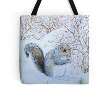 Cute grey squirrel snow scene wildlife art  Tote Bag