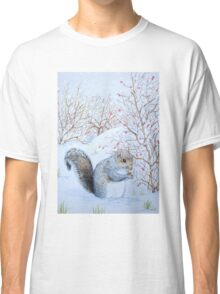 Cute grey squirrel snow scene wildlife art  Classic T-Shirt