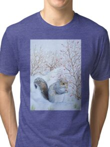 Cute grey squirrel snow scene wildlife art  Tri-blend T-Shirt