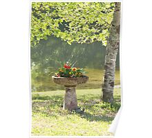 Bird Bath Garden Poster
