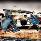 Tired and retired old cars at Coober Pedy  by Elaine Game