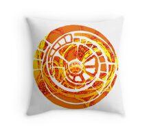 the orange spiral cog Throw Pillow