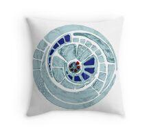 the blue spiral cog Throw Pillow