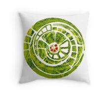 the green spiral cog Throw Pillow
