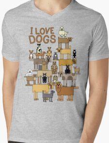 I Love Dogs Mens V-Neck T-Shirt