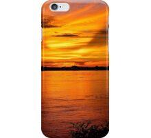 Bright Red Sunset - Thakhek, Laos. iPhone Case/Skin