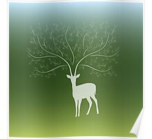 Deer with tree branch horns Poster
