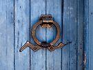 Southwest Door Knocker on Blue Door by Lucinda Walter